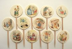 Peter Rabbit Cupcake Toppers, Baby Shower, Birthday Party, First Birthday, Cupcake Picks, Set of 12