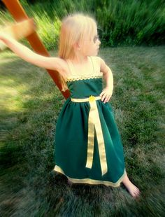 Merida Brave Costume Dress: Brave Battle Dress, green & gold, easy on and off tutu for birthday princes party or disney trip, adjustable
