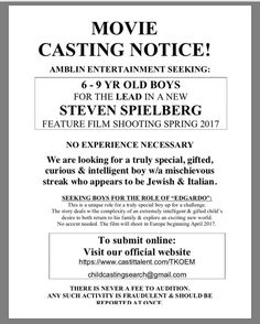 TAS Disclaimer: Do not call/email TAS with any questions.  Use the contact information provided on the attached flyer.  Feel free to share and post. The Actor's Scene receives notices about castings auditions open calls etc from directors casting directors producers and other industry professionals.  These are notices only and provided for informational purposes. The Actor's Scene in no way assumes liability or legitimacy about notices sent. It is each actor's and individual's job to…