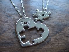 A handmade puzzle and heart necklace set. A pendant from a pendant, perfect for you and your favourite person. I make these pendants from the same piece of Silver, the puzzle is cut out from the heart that you will receive it with. Each pendant is approximately 1.2mm thick, the