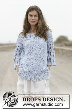 Roulette - Crocheted jumper with lace pattern, worked from the middle outwards. Sizes S - XXXL. The piece is worked in DROPS Paris. Free crochet pattern DROPS 186-25