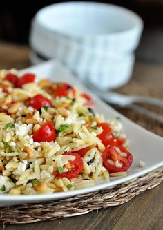 Fast and Fresh Orzo Salad. Fast and Fresh Orzo Salad with Tomatoes Basil and Feta. Vegetarian Recipes, Cooking Recipes, Healthy Recipes, Vegetarian Salad, Penne, Pasta Salad Recipes, Quinoa, Summer Salads, Soup And Salad