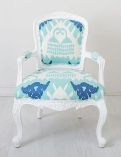 Navy/Royal blue Ikat Louis chair - Kristy Lee Interiors Updating an old chair with a fresh coat of paint and a current fabric