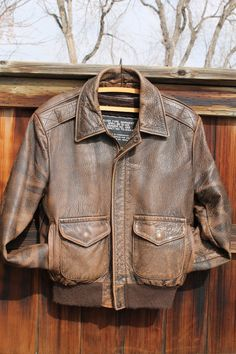 vtg Schott Bros nyc brown leather bomber jacket size 38 by Taite, $55.00