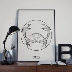 Zodiac Wall Art: Cancer Sign // Astrology Symbols // Digital Print / Geometric // By Alcateia Art