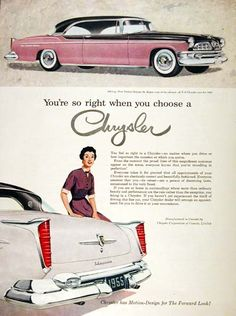 1955 Chrysler New Yorker St. Regis Coupe original vintage advertisement. Equipped with the 250 hp V8.
