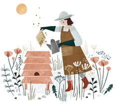 Clare Owen, beekeeper, illustration, editorial, design, nature, bee, flowers, drawing