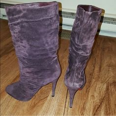 Louboutin boots Authentic louboutin boots purple suede reposh worn once by me had professionally cleaned and vibram soles put on price is firm fits size 8 Christian Louboutin Shoes Heeled Boots