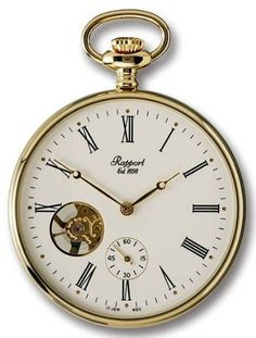 Rapport of London Gold Plated Open Face Pocket Watch with Skeletonized Movement $424.93