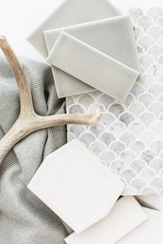 Grey Pinstripe and Pinpoint Textured Subway Tile from the Essentials Collection by Mission Stone & Tile stone tiles flooring Gone are the da. Scallop Tiles, Mermaid Tile, Fish Scale Tile, Upstairs Bathrooms, Master Bathroom, Tiles Texture, Stone Tiles, Stone Mosaic, Tile Patterns