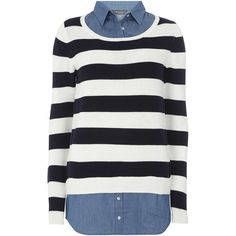Dorothy Perkins **Tall Stripe and Denim 2 in 1 Top (145 BRL) ❤ liked on Polyvore featuring tops, shirts, sweaters, blusas, blouses, blue, blue stripe shirt, blue shirt, white stripes shirt and tall tops