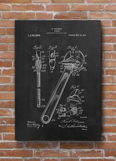Wrench Patent Print, Tool Poster, Mechanic Gift, Car Lover Gift, Garage Decor…