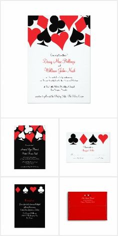 Set of 10 vegas or poker themed wedding or party invitations red black las vegas destiny wedding suite a collection of wedding invitation stopboris Choice Image