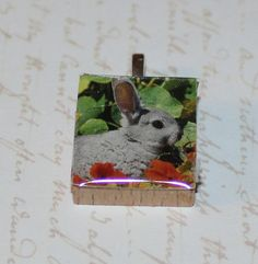 Bunny Rabbit Scrabble Tile Pendant by GreyGyrl on Etsy, $4.00