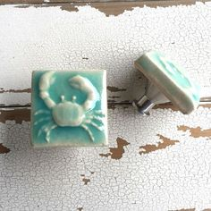 Art Tile Cabinet Knob Drawer Pull Crab Turquoise Pottery by BeachyRustica Practical Art for Coast & Cabin