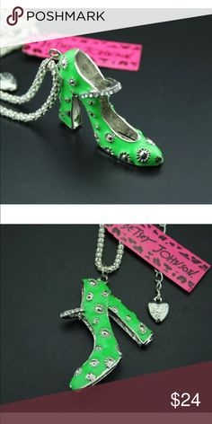 Betsey Johnson Crystal & Enamel shoe necklace New with tags. Next day shipping Betsey Johnson Jewelry Necklaces