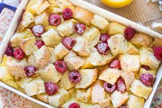 Lemon Raspberry French Toast Casserole - made for Easter. If making lemon syrup to go with it, omit the lemon extract from casserole. Breakfast Toast, Breakfast Recipes, Breakfast Ideas, Breakfast Dishes, Vegan Breakfast, Dinner Recipes, Dessert Recipes, French Toast Casserole, Breakfast Casserole