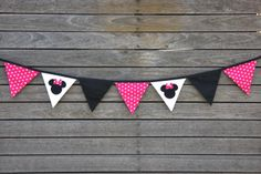 Minnie Mouse Bunting Banner. Party, Birthday, Bedroom, Photo prop, Decorating.