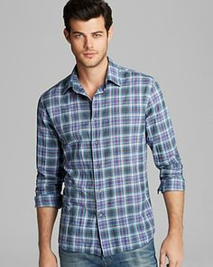 John Varvatos USA Basic Plaid Sport Shirt - Slim Fit | Bloomingdale's