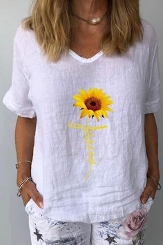 Plants Print Outfits – Page 3 – immorgo Types Of Sleeves, Short Sleeves, Sunflower Print, Cotton Sweater, Shirt Blouses, Going Out, Spring Summer, V Neck, T Shirts For Women
