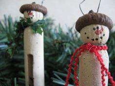 Vintage Spoon Snowman Ornaments, 6 Cocktail Spoon Snowman Faces, Tree Trimmers, Gift Tags, Secret Santa, Hostess or Teacher Gift