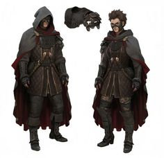 These thieves/assassins are incredibly well designed, from their quilted gambesons and leather breastplates to their masks and cloaks. The slight differences in the male and female costumes are a nice touch without being sexist, and the slightly pirate-y greaves give some depth to these two.