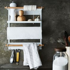 Steel & Wood Magnetic Refrigerator Rack