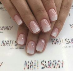 Enter gorgeous bridal nail arts that can be customised to match your ensemble; think stunning gold-traced tips, miniature floral designs, stylish glitter nails or even OTT embellished nails that are… Cute Nails, Pretty Nails, My Nails, Pink White Nails, Soft Nails, Pink Ombre Nails, Nails Today, Classy Nails, Gorgeous Nails