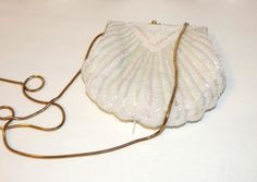 Vintage Carla Marchi Seed Beaded White Clam Shell Purse Crossbody Hollywood Regency on Etsy, $19.00