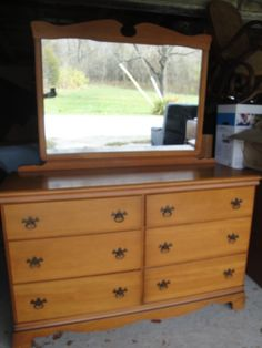 Maple Dresser and Mirror. Very Pretty Shape and Hardware. Sturdy Furniture. Marked inside Dresser drawer: Sumter Cabinet Company. Part of a Bedroom Suit with item?