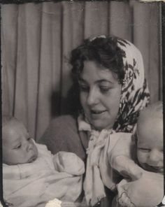 +~ Vintage Photo Booth Picture ~+  Mother juggling twins
