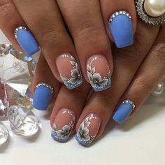 Flower Nail Designs, Diy Nail Designs, Flower Nail Art, Opi Nail Colors, Spring Nail Art, Luxury Nails, Nagel Gel, Beautiful Nail Art, Creative Nails