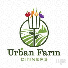 The circular shape of this logo symbolizes a dinner plate, with a fork being transformed into a farmers pitch fork. The pitch fork symbolizes a growing plant, with two green leaves on the stem of the pitch fork. On each prong on the pitch fork are garden vegetables that could be grown in an urban garden. The field lines of the crop move towards the background to an urban city scape, combining the concept of an urban and farm together. Name and colors can be changed for FREE to suit your…
