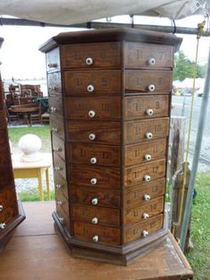 c1900 VINTAGE antique bolt & SCREW octagonal hardware store cabinet 72 drawer #2<br/>1900-1950 - 63564