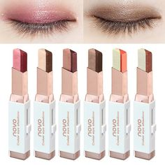 NOVO Eyeshadow Stick Double Color Stereo Gradient Velvet Shimmer Earth Color Eye Shadow Cream Pen Eye Makeup Palette Cosmetics on AliExpress Eyeshadow Pencil, Eyeshadow Brands, Metallic Eyeshadow, Eyeshadow Makeup, Makeup Cosmetics, Waterproof Eyeshadow, Eyeliner Pen, Make Up Palette, Shimmer Eye Makeup