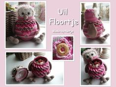 Uil Floortje draagt een geheimpje met haar mee... ;) Patroon van Stip en Haak omgetoverd tot snoeppot :)