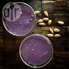 Almond milk, almond butter, frozen blueberries and banana are whizzed up to make a nutritious, dairy free, no-added sugar breakfast smoothie