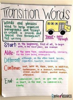 Writing Mini Lesson #25- Revising a Narrative Essay- Add- Transition Words -  - #add #Essay #lesson #mini #Narrative #Revising #Transition #Words #Writing