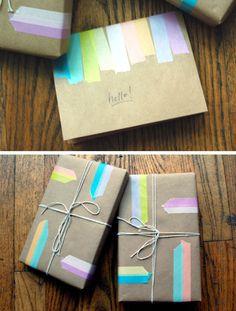 Kraft paper + washi tape = genius | Old Sweet Song
