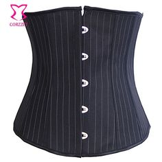 Pinstripe Black Corset Underbust Slimming Waist Training Corsetti e Bustier Fancy Burlesque Corpetes E Espartilhos Para Festa