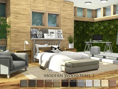 Modern Wood Wall 2 by Pralinesims at TSR via Sims 4 Updates