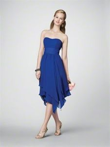 Royal Blue Homecoming Dresses, Chiffon Tea Length Bridesmaid Dresses $98.00