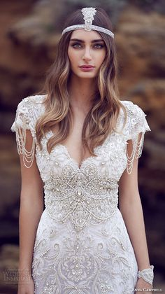 anna campbell 2015 bridal dresse cap sleeves v neckline beaded embellished bodice gorgeous fit to flare mermaid wedding dress sierra close up