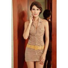 Kahverengi Mini Elbise