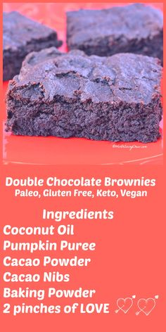 Double Chocolate Brownies...by WorthEveryChew.com...These brownies are pure chocolate decadence and made with pumpkin puree. They are Paleo/Keto/LCHF and comes with a Vegan option plus, they are Worth Every Chew!