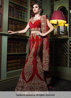 Red Raw Silk Asian Wedding Lehenga With Pearls And Zardosi Work