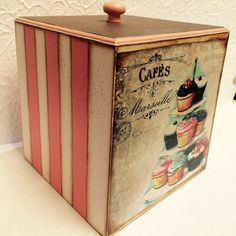 Tecnicas Varias para probar – Creatividad Manual Painted Boxes, Wooden Boxes, Decoupage Box, Hat Boxes, Altered Boxes, Outdoor Art, Vintage Wood, Chalk Paint, Cool Words