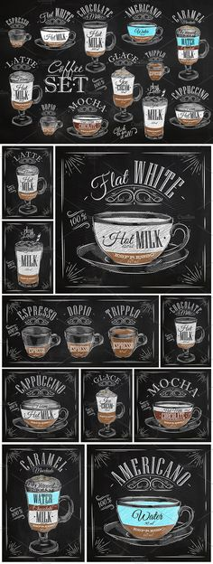 Set of coffe drinks with names, drawing in vintage style on different background (chalk on a blackboard, on white dirty paper and kraft background). Text is fully editable (you can edit in adobe Illustrator) and located on separate layer. What's inside? --- - 30 .Ai files (CS6) editable font - 30 .Eps files (Vector 10) - 30 .JPG files - 1 .txt