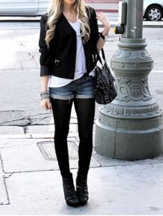 short jeans + black tights.. hmm, let me think about it..