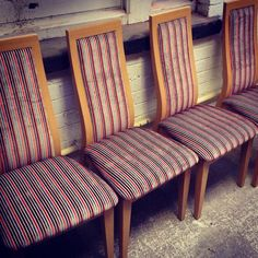 Fancy changing up your dining room this winter? We upholstered six of these dining chairs for a customer of ours in a colourful striped fabric. What fabric would you choose to upholster your dining chairs in?